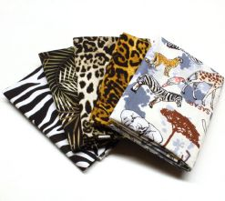 Pack of 5 100% Cotton Animal Jungle Print Fat Quarters